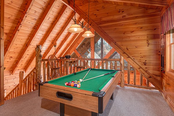 pool table in the game loft at alpine sondance a 2 bedroom cabin rental located in pigeon forge