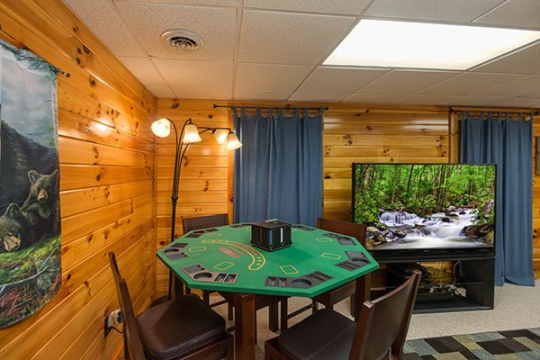 Poker table in the lower game room at Kelly's Cabin, a 1 bedroom cabin rental located in Pigeon Forge