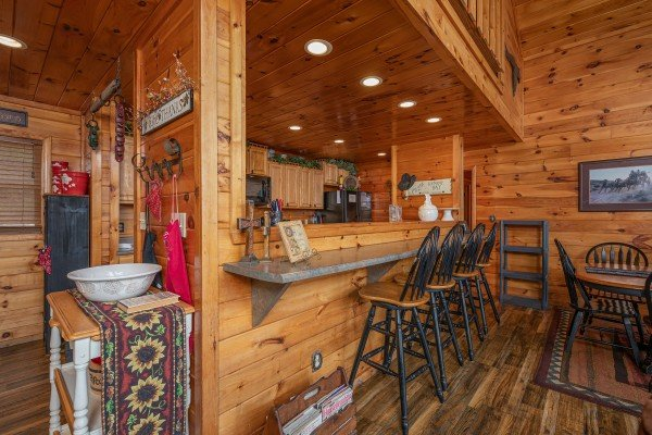 Breakfast bar at True Grit, a 5 bedroom cabin rental located in Pigeon Forge