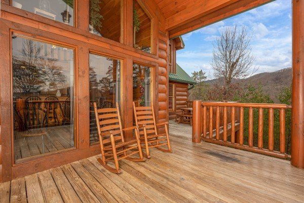 Rocking chairs on deck at True Grit, a 5 bedroom cabin rental located in Pigeon Forge