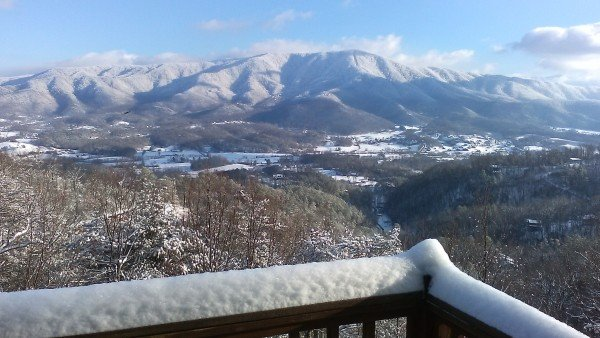 Snowy mountain view at Alone at the Top, a 3 bedroom cabin rental located in Pigeon Forge