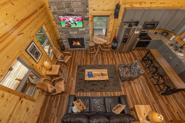 Living room from above at Pool & a View, a 2 bedroom cabin rental located in Gatlinburg
