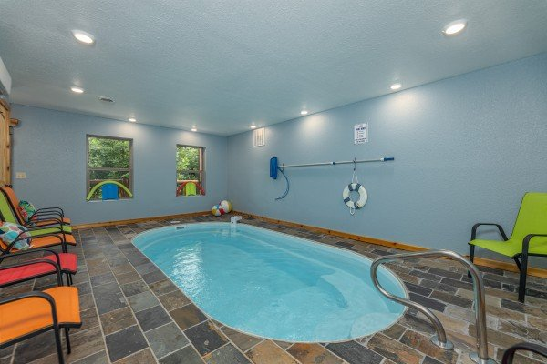 Indoor pool at Pool & a View, a 2 bedroom cabin rental located in Gatlinburg