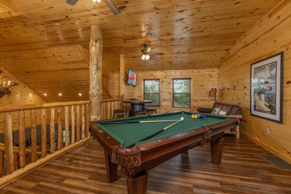 Pool table at Pool & a View, a 2 bedroom cabin rental located in Gatlinburg