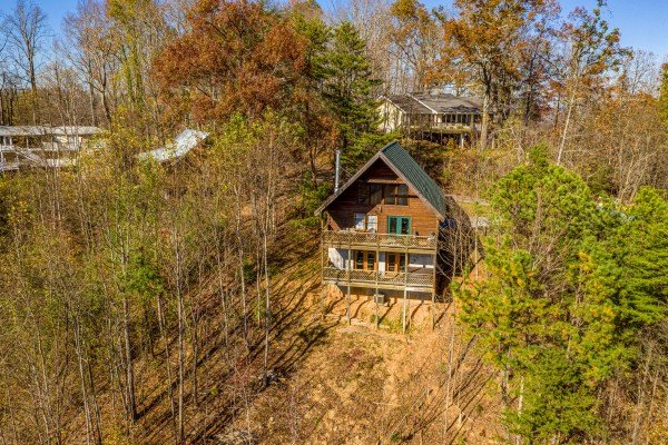 Far away drone view at Brink of Heaven, a 2 bedroom cabin rental located in Gatlinburg