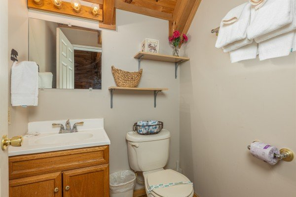 Loft bathroom at Brink of Heaven, a 2 bedroom cabin rental located in Gatlinburg