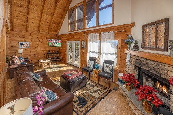 Long living room at Brink of Heaven, a 2 bedroom cabin rental located in Gatlinburg