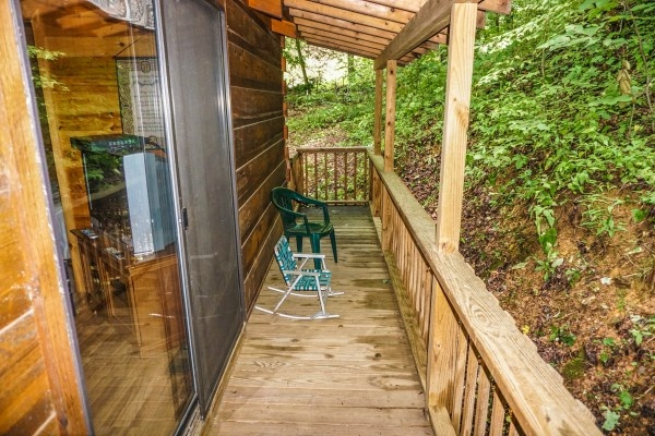 Back deck at Cozy Cabin, a 2-bedroom cabin rental located in Gatlinburg