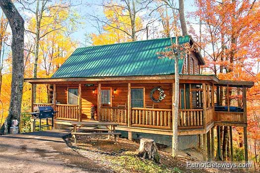 Exterior front view at Tucked Away, a 2 bedroom cabin rental located in Gatlinburg