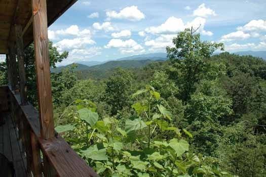 view of the mountains from the deck at a panoramic view a 1 bedroom cabin rental located in pigeon forge