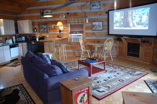 watch your favorites on a large screen from the couch or bed at a panoramic view a 1 bedroom cabin rental located in pigeon forge