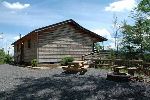 outdoor picnic table and fire pit at a panoramic view a 1 bedroom cabin rental located in pigeon forge