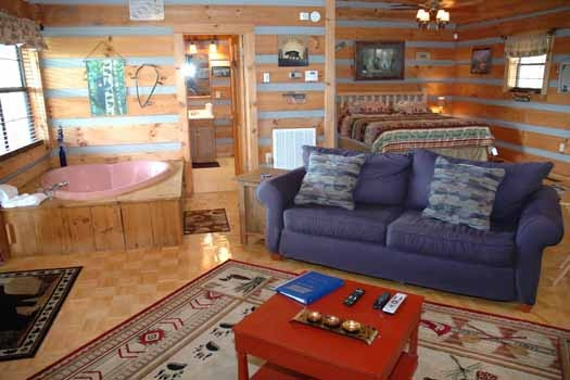 a view of the living room and jacuzzi tub at a panoramic view a 1 bedroom cabin rental located in pigeon forge