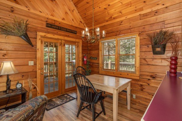 Dining table for two at Owl Be Back, a 2 bedroom cabin rental located in Gatlinburg