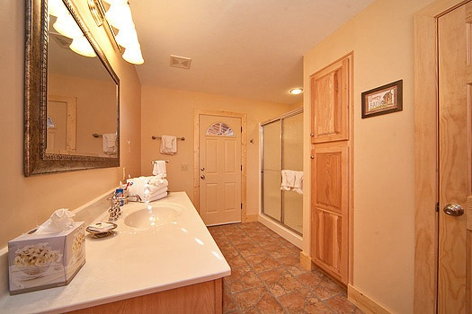 full bath with shower connected to bedroom on main level at horse'n around a 3 bedroom cabin rental located in pigeon forge