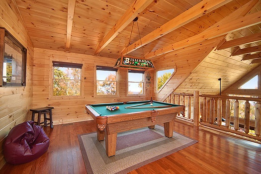 lofted game room pool table at horse'n around a 3 bedroom cabin rental located in pigeon forge