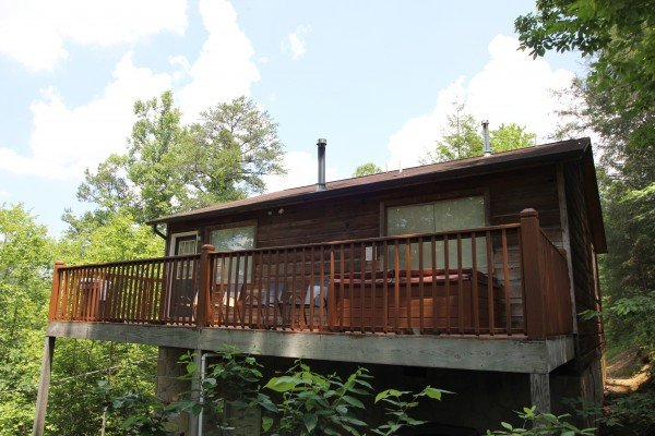 Back deck at A Dream Romance, a 1 bedroom cabin rental located in Gatlinburg
