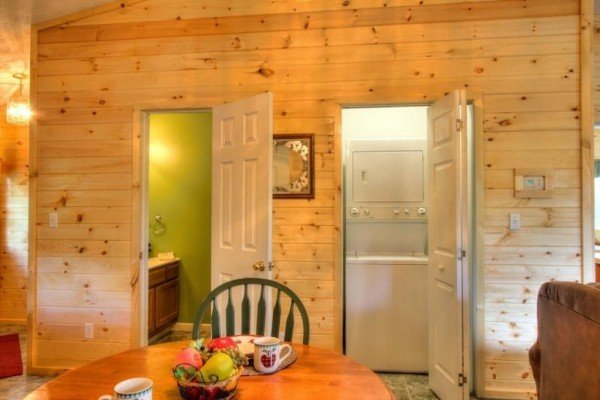 Bathroom access near a laundry room at A Dream Romance, a 1 bedroom cabin rental located in Gatlinburg