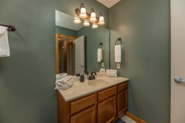 Vanity in the bathroom at Bear Necessities, a 3 bedroom cabin rental located in Pigeon Forge