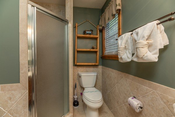 Bathroom with a shower at Bear Necessities, a 3 bedroom cabin rental located in Pigeon Forge
