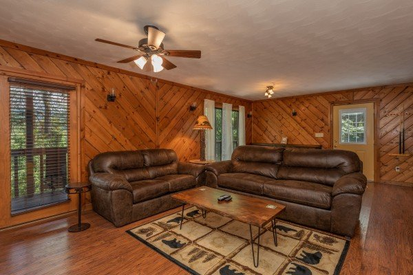 Seating in the living room at Bear Necessities, a 3 bedroom cabin rental located in Pigeon Forge