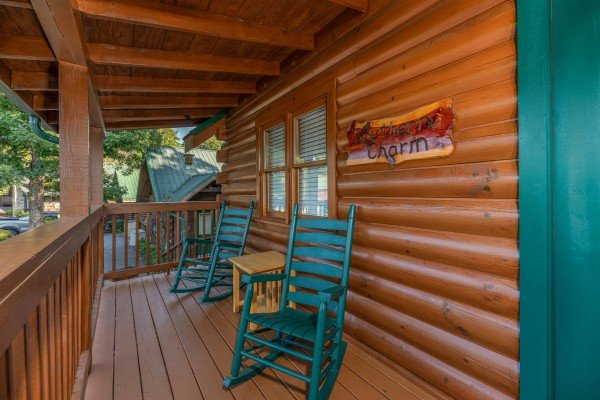 Front porch at Southern Charm, a 2 bedroom cabin rental located in Pigeon Forge