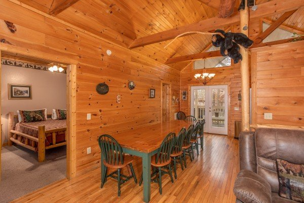 Dining room table with seating for eight at Bearly in the Mountains, a 5-bedroom cabin rental located in Pigeon Forge