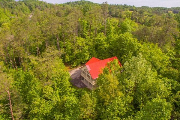 Looking down at the cabin in the woods at Bearly in the Mountains, a 5 bedroom cabin rental located in Pigeon Forge