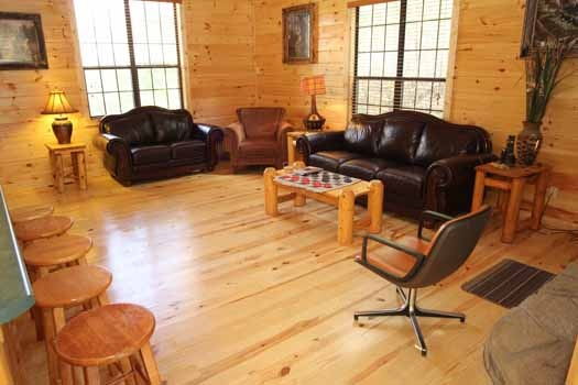 living room seating area at sweet dreams lodge a 3 bedroom cabin rental located in pigeon forge