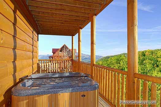 Hot tub on the deck at Flying with Eagles, a 3-bedroom cabin rental located in Pigeon Forge