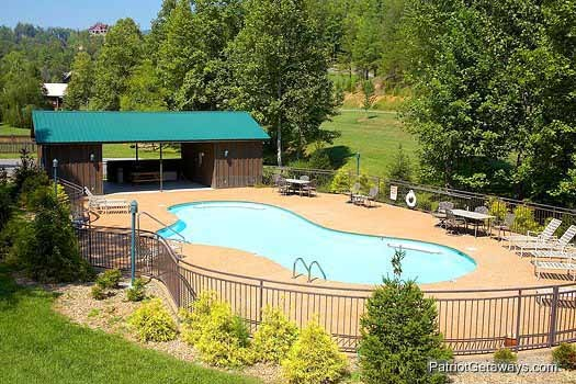 Resort pool at Flying with Eagles, a 3-bedroom cabin rental located in Pigeon Forge