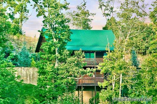 Trees surround the cabin named Flying with Eagles, a 3-bedroom cabin rental located in Pigeon Forge