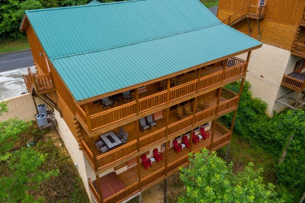 Drone view of the decks at The Pool Palace, a 5 bedroom cabin rental located in Pigeon Forge