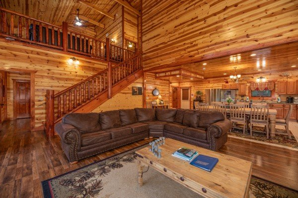 Large sectional sofa at The Pool Palace, a 5 bedroom cabin rental located in Pigeon Forge