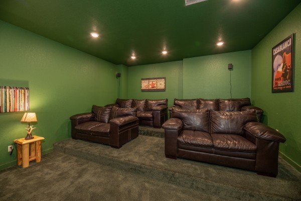 Theater room at The Pool Palace, a 5 bedroom cabin rental located in Pigeon Forge