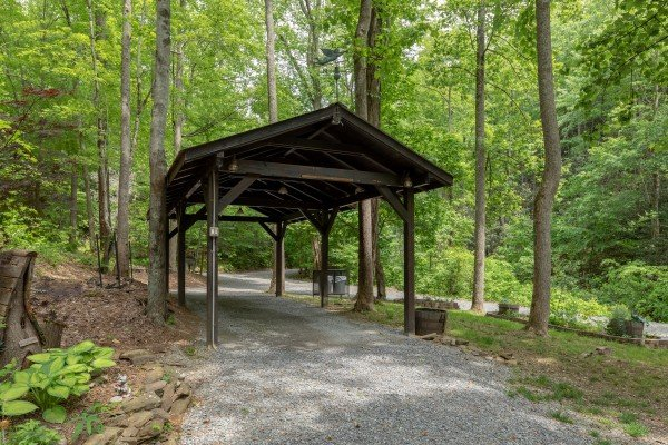 Carport at The Lodge at Paradise Falls, a 4 bedroom cabin rental located in Pigeon Forge
