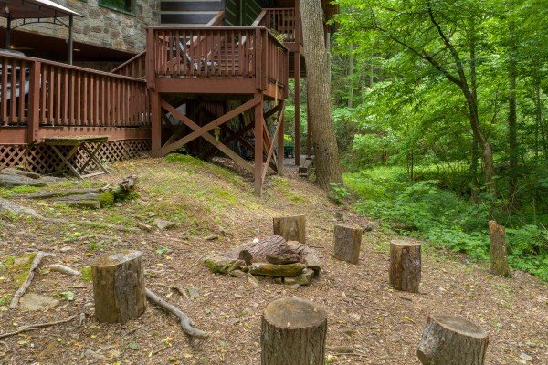 Fire pit at The Lodge at Paradise Falls, a 4 bedroom cabin rental located in Pigeon Forge