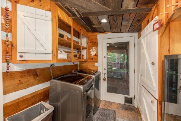 Laundry room at The Lodge at Paradise Falls, a 4 bedroom cabin rental located in Pigeon Forge