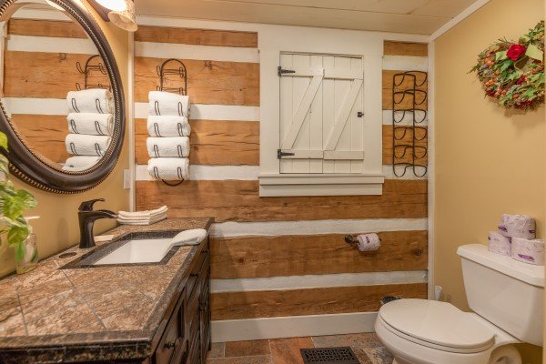 Bathroom at The Lodge at Paradise Falls, a 4 bedroom cabin rental located in Pigeon Forge