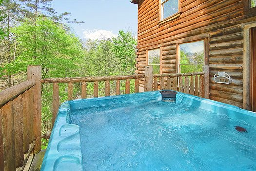 Hot tub with wooded views at Trapper's Trace, a 2 bedroom cabin rental located in Gatlinburg