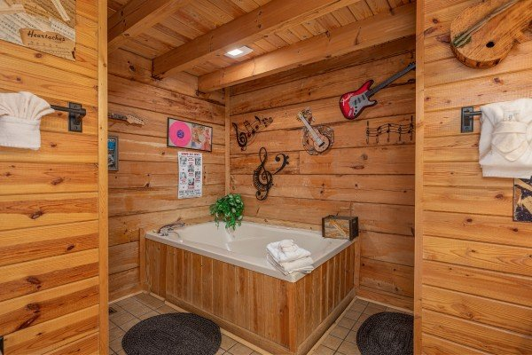 Jacuzzi in the first bedroom at Leconte Nirvana, a 3 bedroom cabin rental located in Pigeon Forge