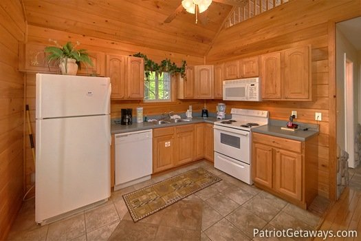 Kitchen at Quality Time, a 1 bedroom cabin rental located in Gatlinburg