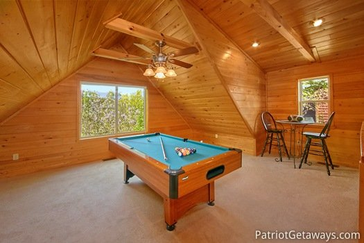 Lofted game room at Quality Time, a 1 bedroom cabin rental located in Gatlinburg