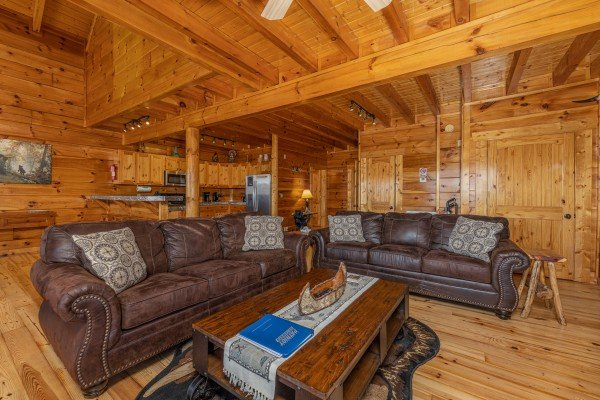Two sofas in the living room at La Kiara a 3 bedroom cabin rental located in Pigeon Forge