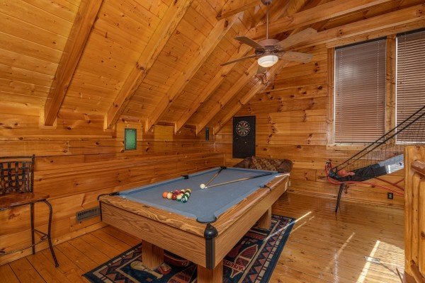 Pool table in the loft at La Kiara a 3 bedroom cabin rental located in Pigeon Forge