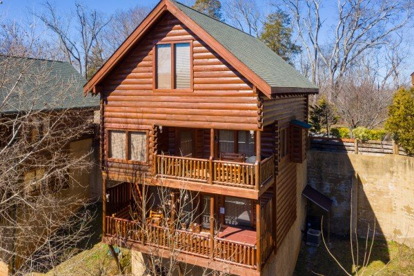 Rear exterior at La Kiara a 3 bedroom cabin rental located in Pigeon Forge