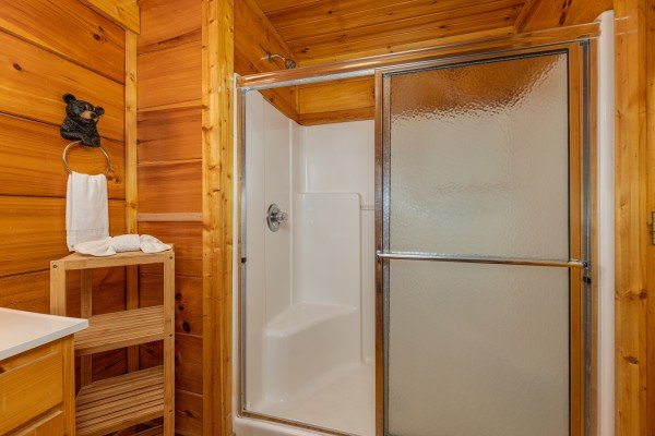 Walk in shower at La Kiara a 3 bedroom cabin rental located in Pigeon Forge