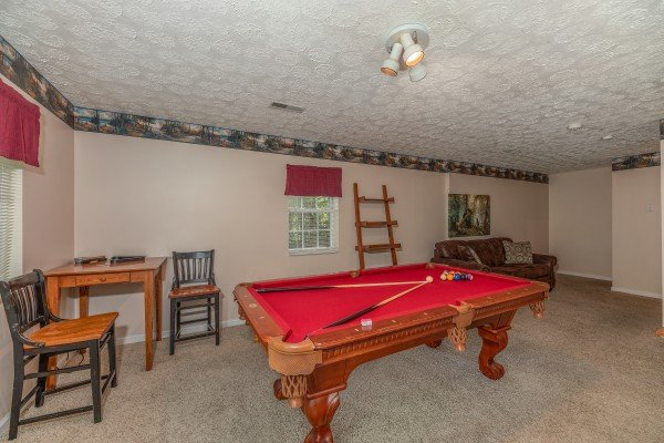 Red felt pool table at Bearadise on Baden, a 4 bedroom cabin rental located in Gatlinburg