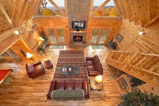 living room view from loft at big sky lodge a 3 bedroom cabin rental located in gatlinburg