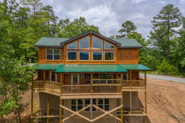 Rear exterior at Sawmill Springs, a 3 bedroom cabin rental located in Pigeon Forge